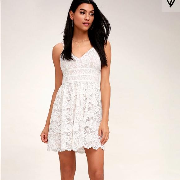 fb4e81202c Lulu s Dresses   Skirts - Lulus Wish Me Luxe White Lace Skater Dress